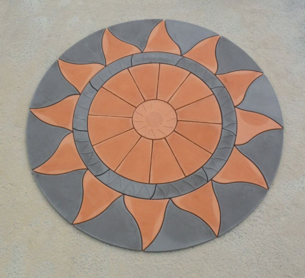 2560mm Aztec Sun Circle Terracotta / Slate Grey